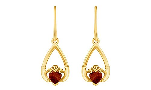 - Claddagh Drop Simulated Garnet Earrings In Yellow Gold Over Sterling Silver By jewel Zone US