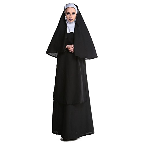 Slocyclub Men's Priest Black Long Robe Halloween Costume Woman (Priest Outfit Halloween)