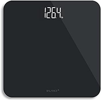 digital body weight bathroom scale from greater goods black glass with backlit shine through display - Black Glass