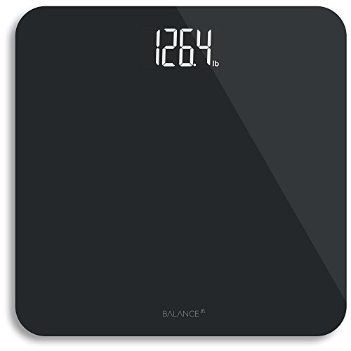 Digital Body Weight Bathroom Scale from Greater Goods, Clean White Glass with Backlit Shine Through Display and Highly Accurate Weight Measurements (Black)