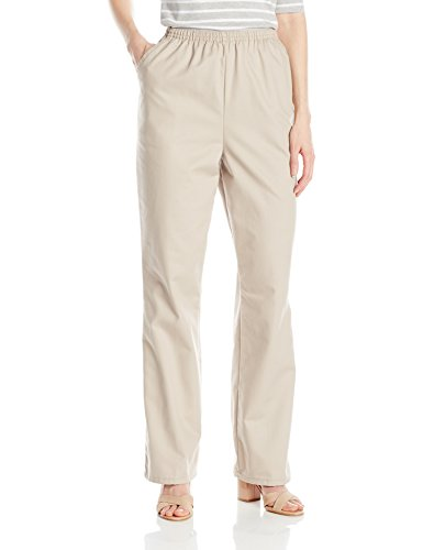 Chic Classic Collection Women's Cotton Pull-On Pant with Elastic Waist, Khaki Twill, 16A