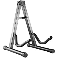 Mustang Heavy Duty Folding Universal Guitar Stand Fits Acoustic, Classical, Electric & Bass Guitars (Gray)