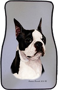 Boston Terrier Car Floor Mats - Carepeted All Weather Universal Fit for Cars & Trucks