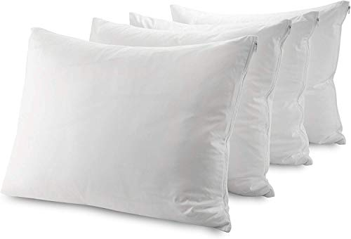 Mastertex Guardmax Waterproof Pillow Protectors Zippered Covers Bed Bug Proof - Breathable Hypoallergenic Encasement Allergy Relief Dust Mite Control Non Noisy (Queen Size 20x30 Inches - 4 Pack)