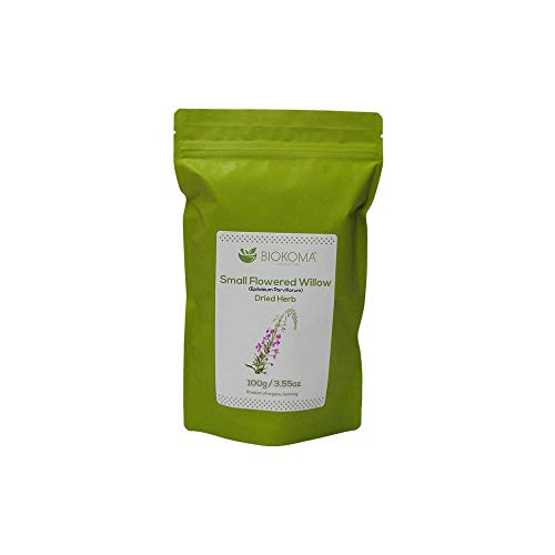 100% Pure and Organic Biokoma Small-Flowered Willow (Epilobium Parviflorum) Dried Herb 100g (3.55oz) in Resealable Moisture Proof Pouch (Small Flowered Willow Herb For Prostate Health)