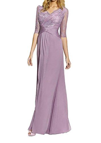 Elegant Flieder Charmant Langarm Spitze Partykleider Damen Brautmutterkleider Ballkleider Neu Flieder Abendkleider HBHwqEx