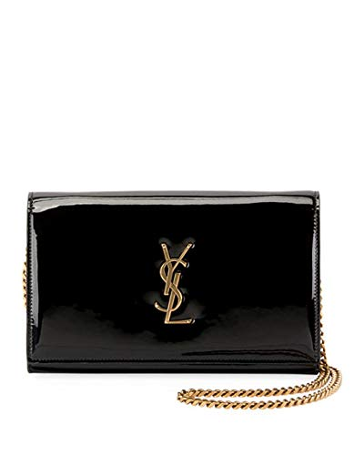 4d80c3fa79c76 Amazon.com  Saint Laurent Kate Monogram YSL Patent Wallet on Chain Made in  Italy (Black)  Shoes