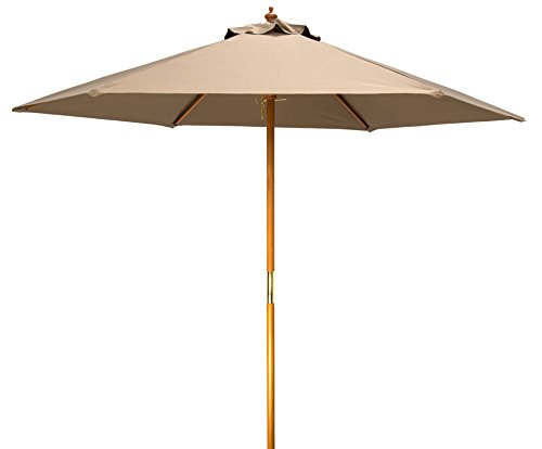 8 Wood Frame Patio Umbrella by Trademark Innovations Tan