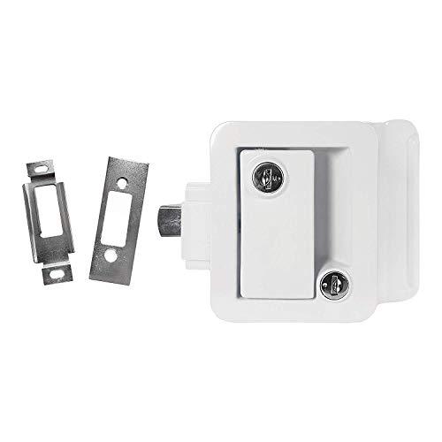 (KS) New White RV Entry Door Lock Handle Knob Deadbolt with 2 Keys Camper Travel Trailer CW - 3-1/2'' Wide x 4-1/4'' High by KS