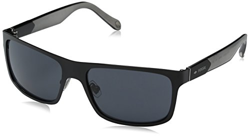 Fossil Fos3059s Rectangular Sunglasses, Matte Black/Gray, 58 - Mens Fossil Glasses