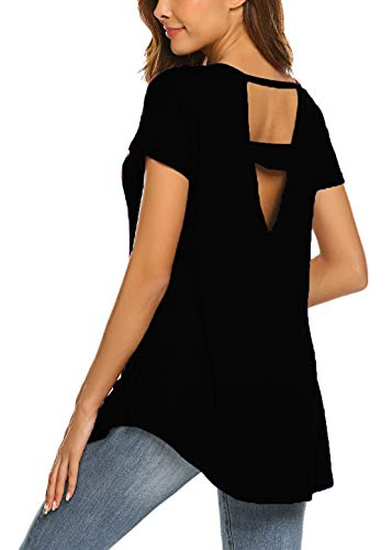 SimpleFun Women's Summer V Cut Out Back Tops Baggy Short Sleeve Tee Shirts