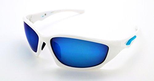 Vertx léger durable pour homme et pour femme Athletic Sport Lunettes de soleil de cyclisme Course à Pied W/étui microfibre gratuit White Frame - Blue Lens