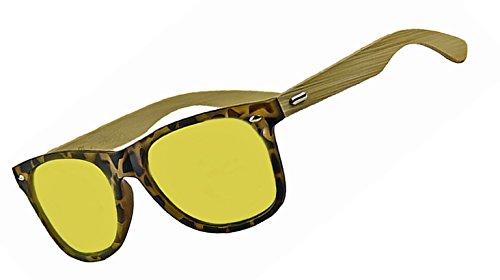 Men's Women's 55mm POLARIZED Bamboo Wood Arms Classic Wayfarer Sunglasses (Tortoise, - Sunglasses Gold Real