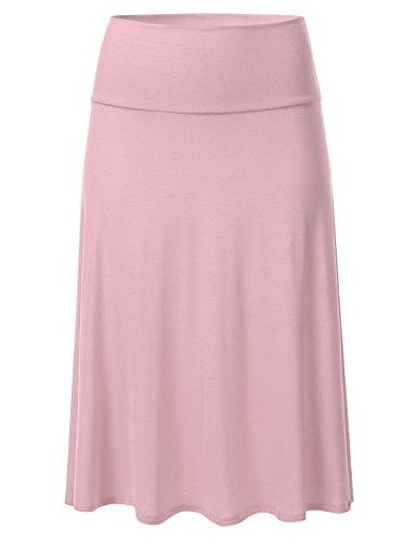 Knit Tiered Skirt (FLORIA Womens Solid Lightweight Knit Elastic Waist Flared Midi Skirt DUSTYPINK 2XL)