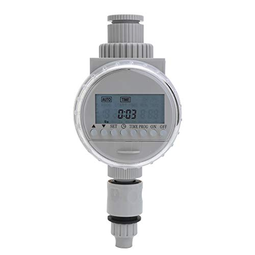 Watering Timer, KKmoon White Solar Power LCD Screen Garden Irrigation Control Auto Water Saving Irrigation Controller Digital Watering Timer