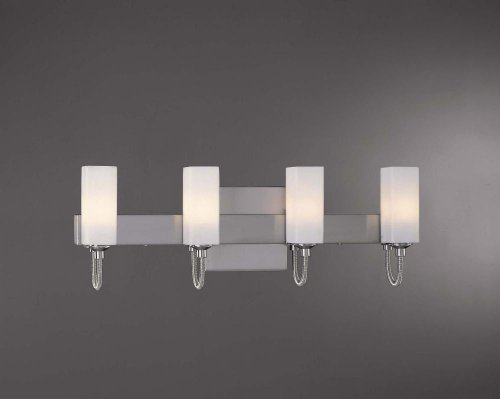George Kovacs P5024-084, Bath Glass Wall Vanity Lighting, 4 Light Halogen, Brushed - 4 Light Kovacs George Bath