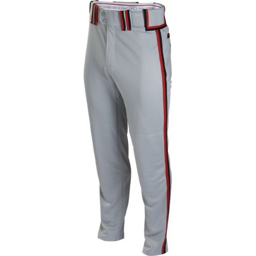 Rawlings Boy's Sporting Goods Boys Youth Semi-Relaxed Pant with Braid, Grey/Scarlet/Black, 2X
