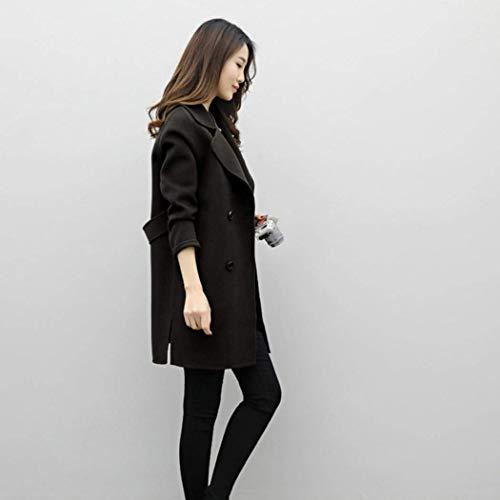 Hipster Manga Color Casual Grueso Larga Outwear Modernas Mujer Abiertas Solapa Moda Parkas Abrigos Schwarz Cardigan Sólido De Fqx6Bw0