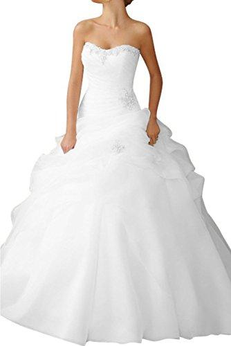 Gorgeous Bride 2014 Neu Lang Traegerlos Princess-Stil Organza Kapelle-Schleppe Brautkleider Hochzeitskleider