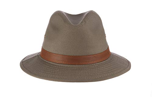Dorfman Pacific Men's One-Piece Canvas Faux Leather-Trim Safari Hat,Olive,Large