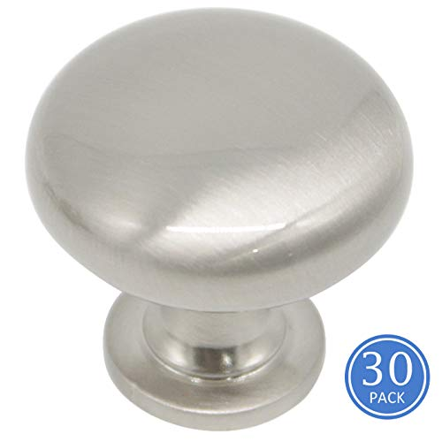 30 Pack Satin Nickel Pulls Knobs for Cabinets, Solid Zinc Alloy Drawer Dresser Handles Pulls, 1-1/4