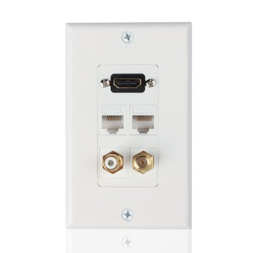 TNP HDMI + Ethernet Network RJ45 + RCA + Coaxial F Connector Multi Combo Wall Plate - 4K (Hdmi Coax Wall Plate Combo)