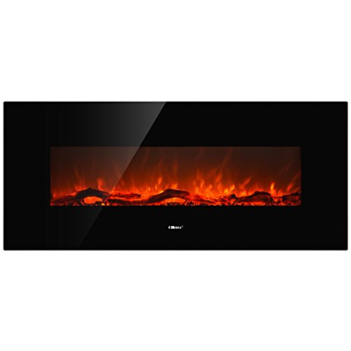 """Ollieroo 50"""" Smokeless Embankment Mounted Electric Fireplace New Technologies Health and Safety Black"""