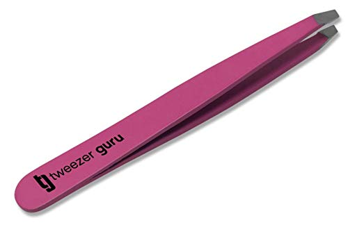 Pink Slant Tweezers  Tweezer Guru Professional Stainless Steel Slant Tip Tweezer  The Best Precision