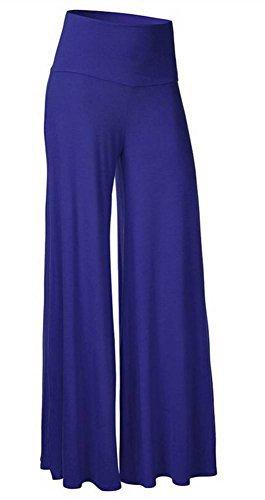 (SL Women's Soft Wide Leg Palazzo Pants with High Fold Over Waist Band Royal Blue L)