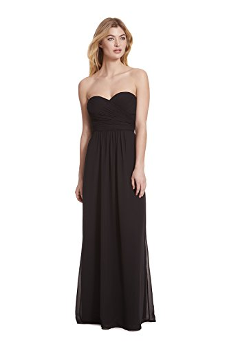 Samantha Paige Strapless Ruched A-line Floor Length Chiffon Formal (Strapless A-line Bridesmaid Gown)