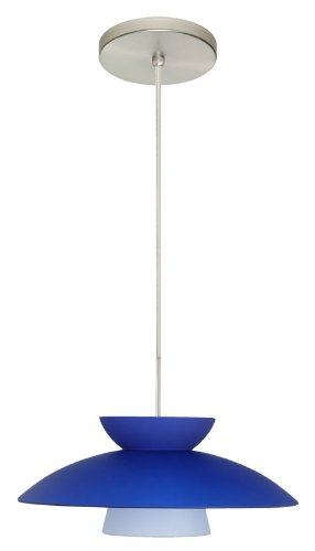 Blue Sconce Matte (Besa Lighting 1JT-451323-SN 1X75W A19 Trilo 15 Pendant with Blue Matte Glass, Satin Nickel Finish)