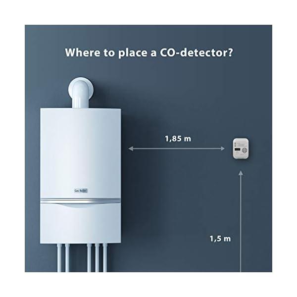 31knRssNzuL Smartwares RM370 Kohlenmonoxid CO Melder mit Display und Temperaturanzeige, Prüftaste, 1 Stück & Magenthalter für…