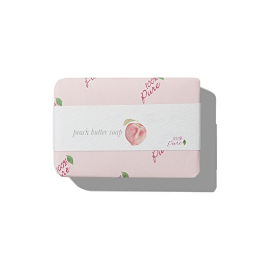 100% PURE Butter Soap, Peach, Organic Bar Soap, Body Wash, Made with Shea Butter, Coconut Oil, All Natural Soap for Anti-Aging Skin, Organic - 4.5 oz 100% Pure Organic Peach