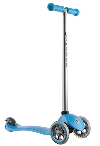 Globber 3 Wheel Kick Scooter with Patented Steering Lock and Optional LED Light Up Wheels (Blue/Chrome) (Pivot Shoe Brake)