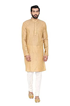 WINTAGE Men's Banarasi Art Silk Cotton Blend Festive and Casual Long Indian Kurta Comfy Sleepset Top : Beige, X-Small