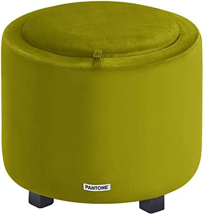 Pantone Round Ottoman Foot Storage Contemporary Compact Soft Padded Vanity Stool