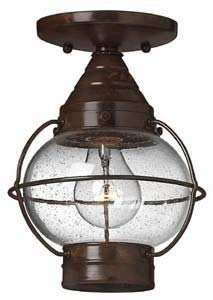(Hinkley 2203SZ Rustic One Light Flush Mount from Cape Cod collection in Bronze/Darkfinish,)