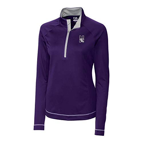 Cutter & Buck NCAA Northwestern Wildcats Women's Long Sleeve Evolve Half Zip Top, Medium, College Purple (Renewed)