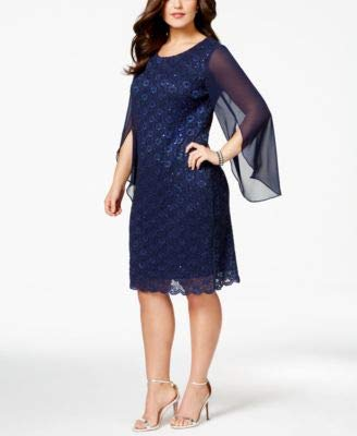 - Connected $99 Womens New 1174 Navy Angel Sleeve Sequined Sheath Dress 18W Plus