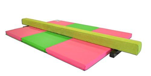 AK Athletics Folding Gymnastics Mat and 8' Suede Balance Beam Combo Pink and Green