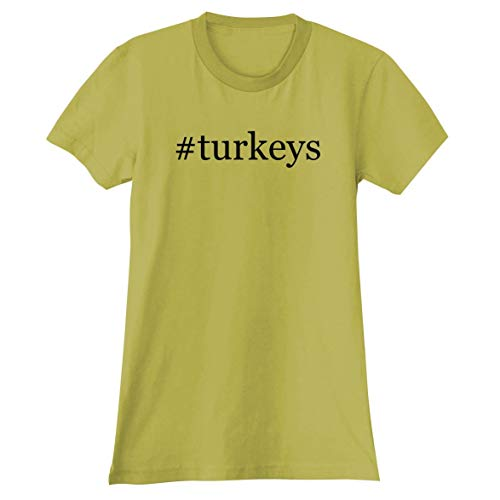 The Town Butler #Turkeys - A Soft & Comfortable Hashtag Women's Junior Cut T-Shirt, Yellow, XX-Large