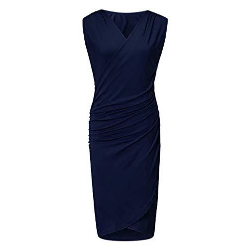 High Shine Golf Belt - CHLZYD Fashion Womens Deep V-Smock Skinny Bag Hip Sleeve Pretty Dress Dark Blue