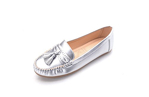 (Mlia Lady Womens Casual Slip On Loafer Moccasins Flats Driving & Walking Shoes Yvonne01 Silver 6.0)