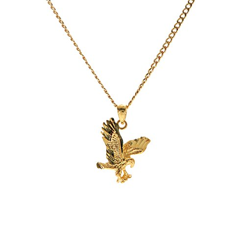 Genuine Stamped 10K Yellow Gold Cuban Curb Link Chain Small Charm Pendant Necklace [ASSORTED SETS] (Wild Eagle + 24 Inches - Gold Eagle 10k Pendant