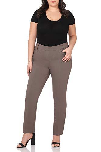 (Rekucci Curvy Woman Ease into Comfort Plus Size Straight Pant w/Tummy Control (20W,Mocha))