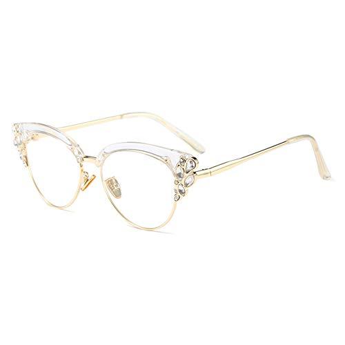 KACHAWOO Women Cat Eye Rhinestone Glasses Metal Frame Luxury Eyeglasses Female Fashion -