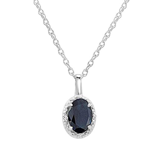 - 14K White Gold Oval Sapphire and Diamond Pendant (.60ct tw. 18