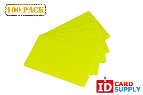 Pack of 100 CR80 Standard Size PVC Cards | 30 mil Thickness by easyIDea (Yellow)