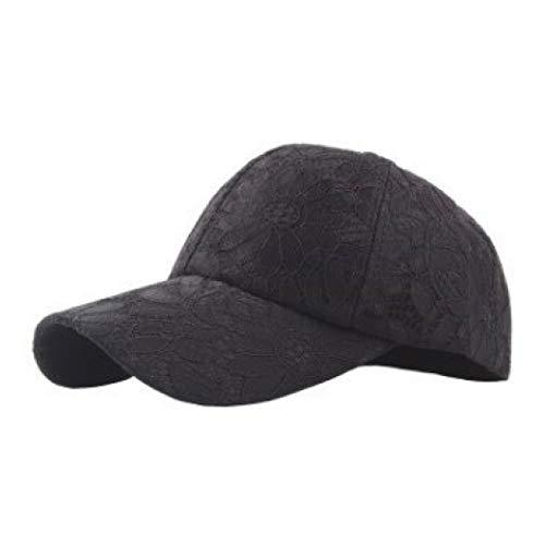 Summer Women's Breathable Baseball Caps Lace Velvet Ventilated Mesh Hat Embroidered Decorated Visor Cap Black