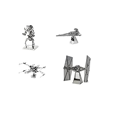 Metal Earth 3D Model Kits - Star Wars Set of 4 - X-Wing - Destroyer Droid - Imperial Star Destroyer - TIE Fighter